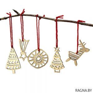 Набор елачных цацак: 2 ялінкі, алень, зорка і сонейка