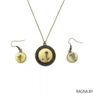 Набор: падвеска і завушніцы з жывымі кветкамі